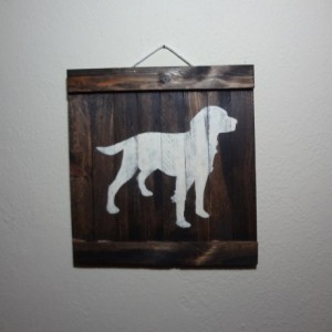 Rustic hunting dog wooden wall art