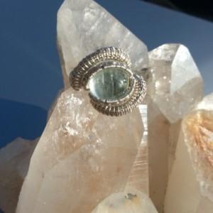 Handmade Silver Vietnamese Aquamarine Ring, Size 7