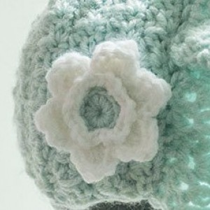 Baby Girl's Aqua Hand Crocheted Prairie Look Bonnet with Flower - 9 -18 mo - Original Design