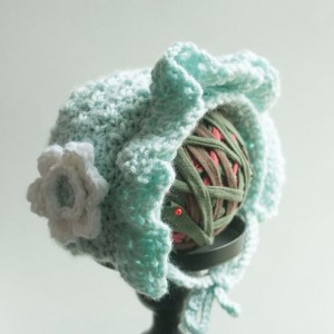 Baby Girl's Aqua Hand Crocheted Prairie Look Bonnet with Flower - 9 -18 mo - Original Design