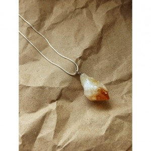 "Citrine sterling silver necklace 24"" chain gemstone natural spiritual gypsy earth stone"