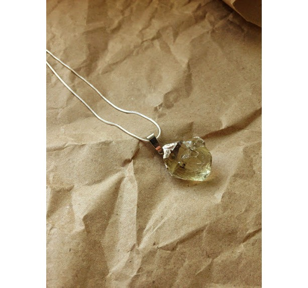 """Pale Citrine sterling silver electro form setting on sterling silver chain gemstone 24"""" jewelry gypsy necklace"""
