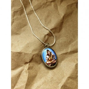 Thai Goddess ceramic cabochon necklace sterling silver chain 24'' Buddhism inscription on back spiritual tibetan