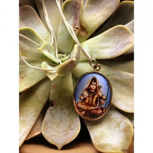 Thai Goddess ceramic cabochon necklace sterling silver chain 24'' Buddhism inscription on back spiritual tibetan