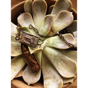 "Bronze copper gold buddha necklace bronze and black chain 24"" buddhism vintage antique metal ceramic spiritual"