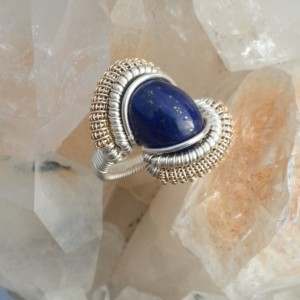 Handmade Lapis Lazulli Wire Wrapped Ring Size 7-7.5