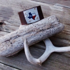 Texas License Plate Leather Cuff Upcycled Recycled Metal Leather Cuff Bracelet by Bret Cali