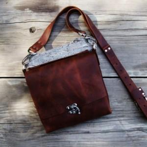 Leather Cross Body Bag with Nickel Hardware Hand Stitched. Leather Messenger Satchel Bag  Bret Cali Bag Handmade