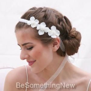 Flowers and Pearls Wedding Ribbon Tie Bohemian Head[piece, Wedding Headband