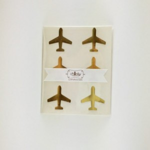 Airplane Stickers / Labels - Gold foil, Kraft or Gloss White