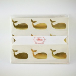 Whale Stickers / Labels in Gold Foil, Kraft or Glossy White