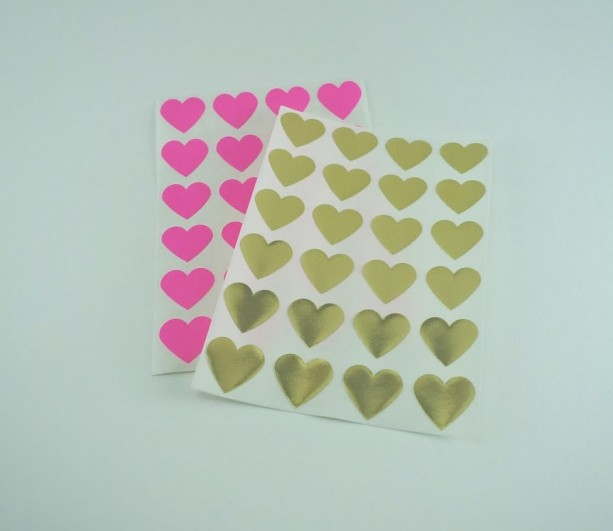 Mini Gold Foil Heart Stickers / Labels in Gold Foil or Hot Pink