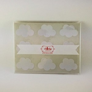 Cloud Stickers / Labels in Gold Foil, Kraft or Glossy White