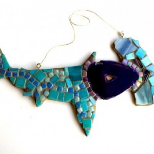 Hammerhead Shark Mosaic Art Glass tile with a Purple Geode Ocean Wall Art. Ready to Hang, Beach Home Decor.
