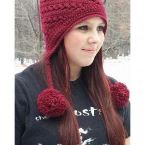 Burgundy Crochet Pom Pom Hat