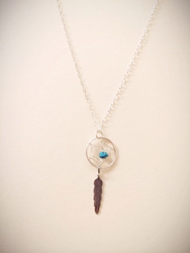 Sterling Silver Dreamcatcher With Feather Charm Necklace