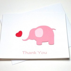 Pink Elephant Baby Shower Birthday Thank You Card Set, Elephant Thank You Card Set, Pink Elephant Heart Baby Shower Thank You, Elephant