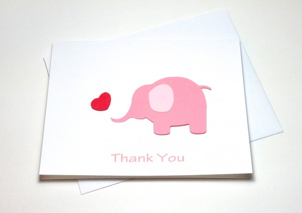 pink elephant baby shower birthday thank you card set elephant t