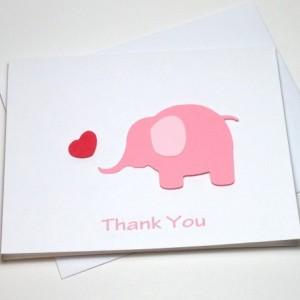Pink Elephant Baby Shower Birthday Thank You Card Set, Elephant Thank You Card Set, Pink Elephant Heart Baby Shower Thank You, Elephant