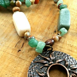 Green Jade Stone Earthy Boho long necklace
