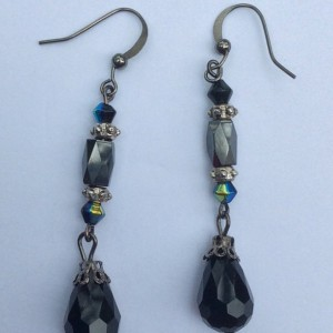 Hematite & Black Beaded Dangle Earrings, Teardrop beaded Earrings, Gun Metal black Beaded Drop Earings