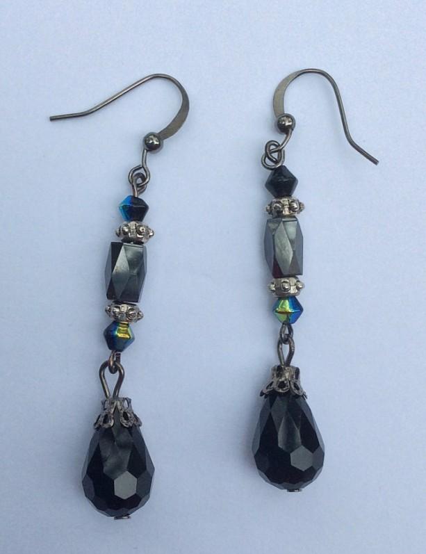 Hematite & Black Beaded Dangle Earrings, Teardrop beaded Earrings, Gun Metal black Beaded Drop Earings