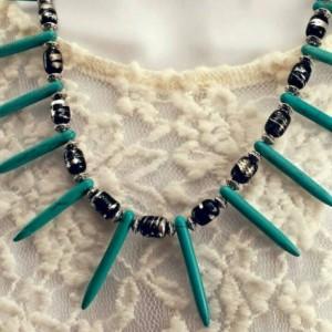 Turquoise Spike Boho Tribal Necklace