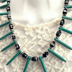 Turquoise Spike Boho Tribal Necklace
