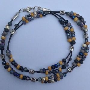 Black Grey Beaded Leather Wrap Bracelet, Boho Double Strand Everyday Seed Bead Braclet Jewelry Wristwear