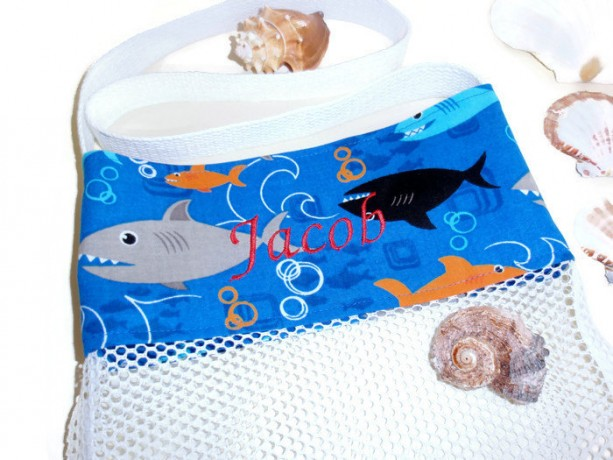 Seashell Collecting, Shark Beach Bag, Personalized Beach Tote ...