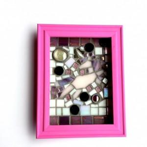 Mosaic Art Unicorn in 5x7 Girly Pink Shadowbox. Ready to Hang Fantasy Nursery Decor Wall Art.