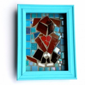 Nursery Wall Art Mosaic Art Puppy Love Blue 5x7 Shadowbox. Ready to Hang Boys Decor.