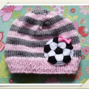 Baby pink and Grey Soccer Beanie, Soccer hat, baby accessories, girls accessories, baby clothing, girls clothing, striped soccer hat, Beanie