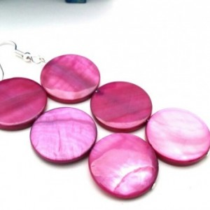 Mulberry Dangle Earrings, Fuchsia Beaded Drop Earrings, Raspberry Mod Shell Earrings