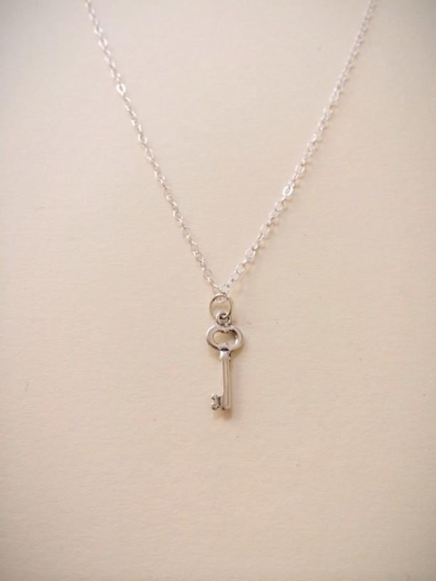 Sterling Silver Skeleton Key Charm Necklace