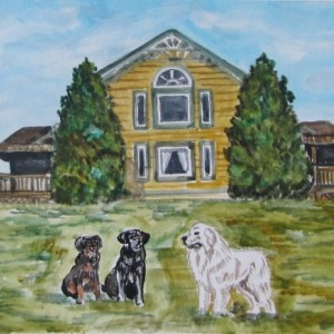 Custom House, Farm or Barn 5x7 Portrait watercolor painting, include pets! Watercolor house,  pet painting, housewarming gift, realtor gift
