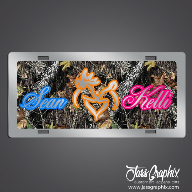 Camouflage Personalized buck and doe plate  for couples, anniversaries & newlyweds. Show your love on your front bumper with this custom tag