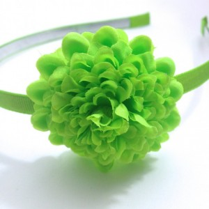 "Lime Green 2"" Hair Flower, 1/4"" Lined Metal Headband - Made To Order"