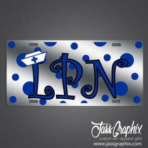 Nurses LPN License Plate with polka dots-Mirror Acrylic car tags for Nurses. Cute and trendy license plates for nursing and medical techs.