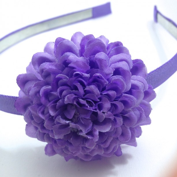 "Purple 2"" Hair Flower, 1/4"" Lined Metal Headband - Made To Order"