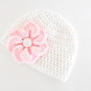 Crochet Baby Hat with Flower - Crochet Easter Baby Hat - Baby Shower Gift for Girls - Crochet Baby Beanie -  Baby Girl Hat for Spring