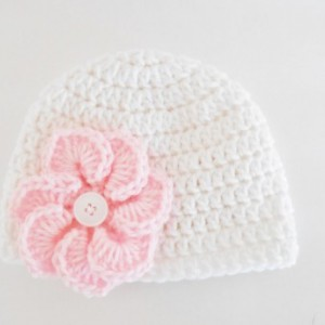 Crochet Baby Hat with Flower - Crochet Easter Baby Hat - Baby Shower Gift for Girls - Crochet Baby Beanie -  Baby Girl Hat for Spring