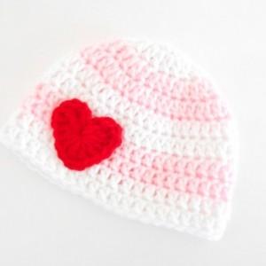 Crochet Baby Beanie for Girls - Crochet Baby Valentine's Day Beanie - Newborn Valentine's Hat - Baby Shower Gift for Girls - Newborn Beanie