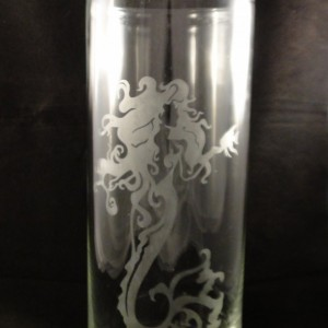 "Beautiful Etched Mermaid -9"" Etched Vase - Etched Glass Vase - Mermaid Vase - Perfect Valentines Day Gift - Mermaid -"