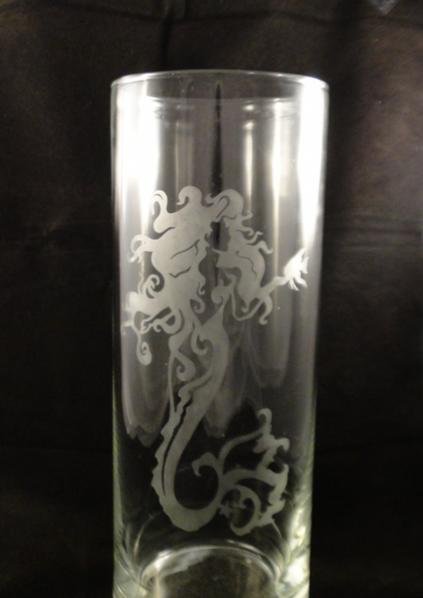 Beautiful Etched Mermaid 9 Etched Vase Etched Glass Vase Me