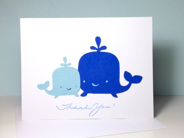 whale baby shower thank you card set thank you cards blue whale mommy