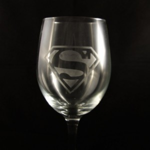 Custom Superman Etched Wine Glass -  Etched Glass - Wine Glass