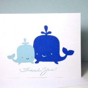 Whale Baby Shower Thank You Card Set Thank You Cards, Blue Whale Mommy and Baby Whale Thank You Cards, Blue Baby Boy Thank You Cards