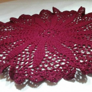 Medium Petal Doily in Burgundy