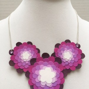 Paper bib necklace, Disney necklace, paper jewelry. hidden mickey, Disney jewelry, upcycled necklace, upcycled jewelry, paper flower, floral